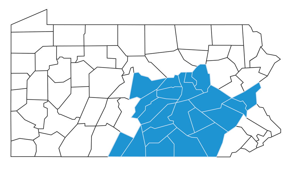 Capital BlueCross service area map. The service area includes the Adams, Berks, Centre, Columbia, Cumberland, Dauphin, Franklin, Fulton, Juniata, Lancaster, Lebanon, Lehigh, Mifflin, Montour, Northampton, Northumberland, Perry, Schuylkill, Snyder, Union and York counties.